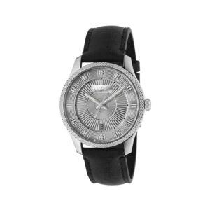 Eryx Silver Guillochи Dial Black Leather Men's Watch