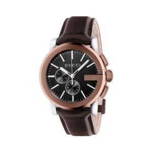 G Chrono XL Black Dial Brown Leather Men's Watch