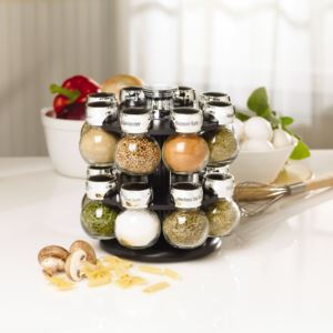 16-Jar Revolving Spice Rack with Spice Refills for 5 Years