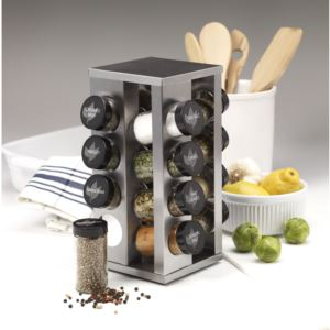 16-Jar Revolving Countertop Spice Rack with Free Spice Refills for 5 Years