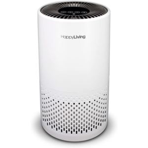 Happy Living HEPA 360-Degree, 3-Stage Filtration Air Purifier, White