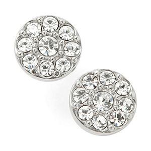 Disc Stud Earrings-Silver