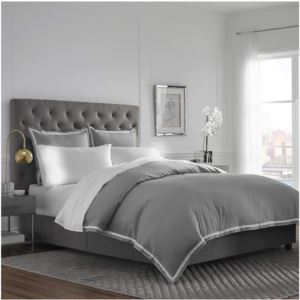 Ultra-Soft Microbrushed Full/Queen Duvet Cover Set - (Gray and White)