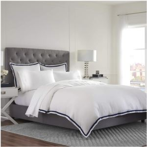 Ultra-Soft Microbrushed Full/Queen Duvet Cover Set - (White and Navy)