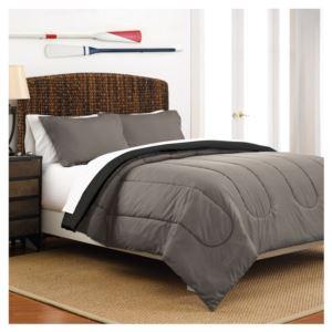 Reversible Full/Queen Comforter Set - (Light Grey and Navy)
