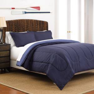 Reversible Full/Queen Comforter Set - (Navy Ceil Blue)