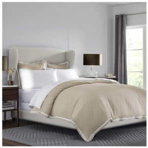 Ultra-Soft Microbrushed Full/Queen Duvet Cover Set - (Khaki and White)