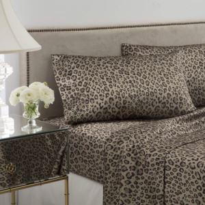 Satin Leopard Print Sheet Set - (Queen)