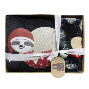 Pillow and Throw Holiday Gift Set Sloth