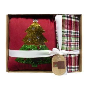 Pillow and Throw Holiday Gift Set Christmas Tree