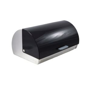 Stainless Steel Roll-Top Bread Box - (Black)