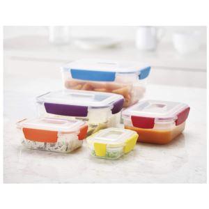10 - Piece Nest Lock Plastic Food Storage Container Set - (MultiColor)