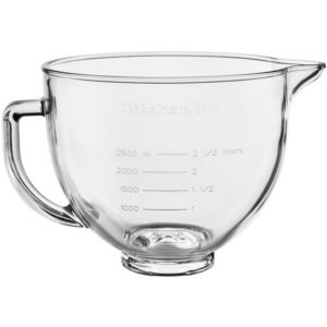 5-Qt. Clear Glass Bowl with Lid for KitchenAid Tilt-Head Stand Mixers