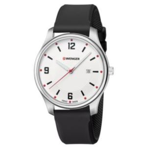 City Active Large, White dial and black silicone strap
