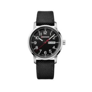 Attitude Heritage Black Dial, Black Nylon Strap Geniune Leather Underside Large - 42 mm