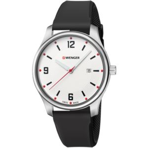 City Active Small, White dial and black silicone strap