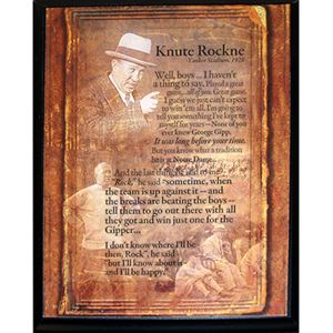 Rockne Speech Plaque