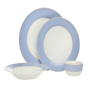 Gustav Dinnerware Blue Set - (16 Piece)