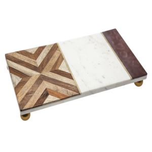 Wood and Marble Tray with Footer