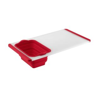 Cutting Board with Colander - Red & Semi-Transparent