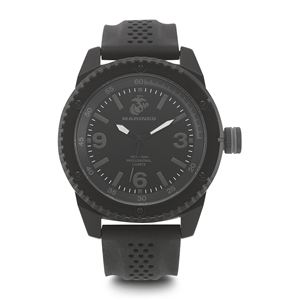 Men's U.S. Marine Corps Stealth Dial Watch with Black Rubber Strap