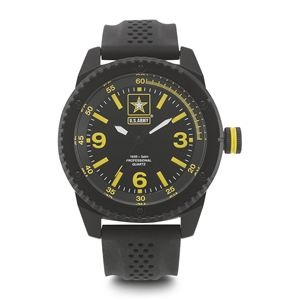 Men's U.S. Army Black And Yellow Dial Watch with Black Rubber Strap