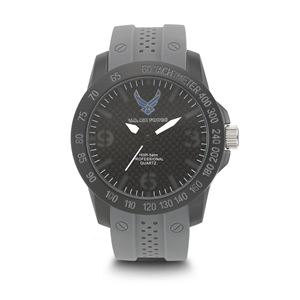 Men's U.S. Air Force Stealth Dial Watch with Grey Rubber Strap