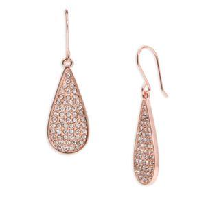 Pave Teardrop Earrings Rose Gold