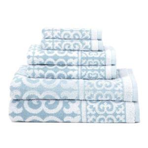Arabesque Design Cotton Towel Set - (Surf) - (6 Piece)