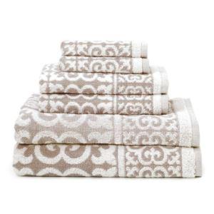 Arabesque Design Cotton Towel Set - (Fawn) - (6 Piece)