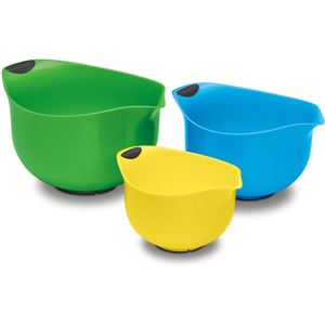 3-Piece Set of Plastic Mixing Bowls - Multi-Color (Yellow, Blue, Green)