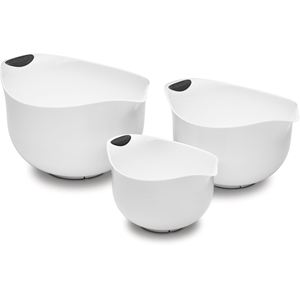 3-Piece Set of Plastic Mixing Bowls - White