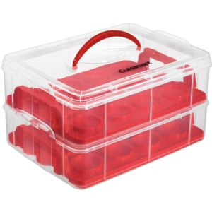Stackable Cupcake Carrier (24 cupcakes), Clear/Red