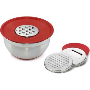 Multi-Prep Bowl with Graters, Red