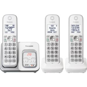 Expandable Cordless Phone with Call Block and Answering Machine - 3 Handsets