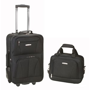 2 pc. Expandable Lightweight Carry-on Luggage Set - Black
