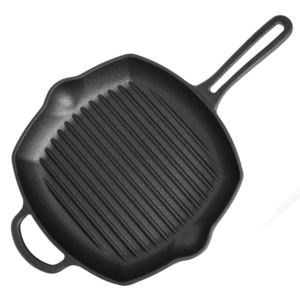 "Cast Iron 10.5"" Square Grill Pan - Black"