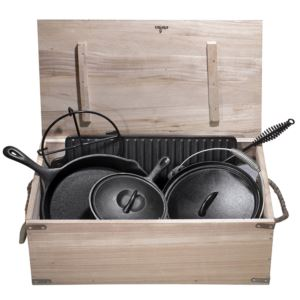 Heavy Duty Cast Iron Camping Cooking Set with Box - (7 - Piece)