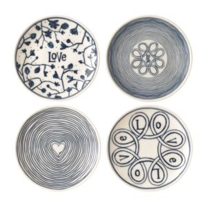 6 - Inch Ellen DeGeneres Blue Love Plate Mixed - (Set of 4)
