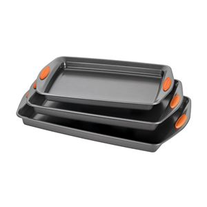 Rachael Ray 3 Piece Cookie Pan Set Orange