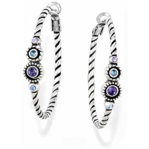 Halo Hoop Earrings - Silver -Aqua - Lavendar