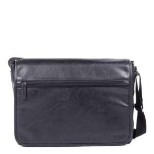 "Valentino Messenger Bag - Vegan Leather Black 17.25"""