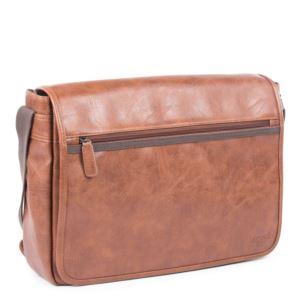 "Valentino Messenger Bag - Vegan Leather Cognac 17.25"""