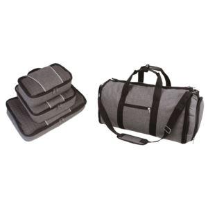 Heather Grey 4 PC Set -  Convertible Duffel /Garment Bag & 3 Pc Packing Cube