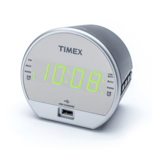 Dual Alarm FM Clock Radio w/ USB Charging/Battery Backup