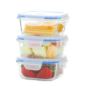 GoGreen Glasslock 6-Piece Square Oven Safe Glass Food Storage Container Set with Vented Lid; 17 oz.