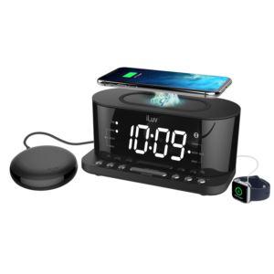 Time Shaker 5Q Wow Alarm Clock Radio w/ Qi Charging & Alarm Shaker