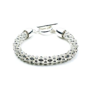 Silver-Tone Crystal Tubular Flex Bracelet