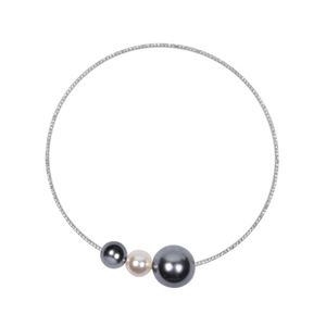 Large Pearl and Mini Rhinestone Choker Necklace