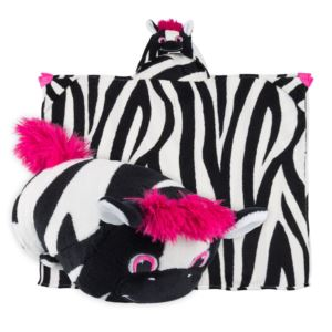 Comfy Critters Plush Huggable Hooded Blanket - Ziggy The Zebra